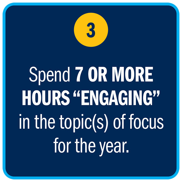 Spend 7 OR MORE HOURS ENGAGING in the topic(s) of focus for the year.