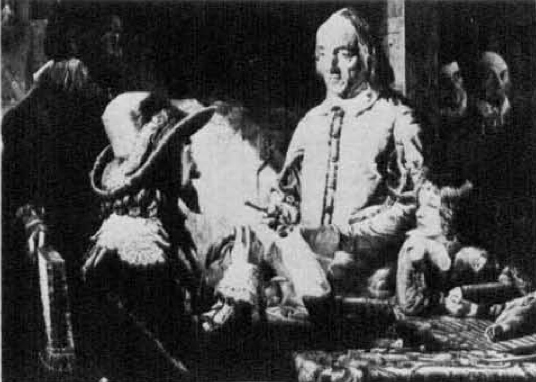 Fig. 3 William Harvey demonstraling the one way valves in the veins and in the heart to King Charles I. Image included by permission of John Wiley & Sons, Inc. Further usage of any Wiley content that appears on this website is strictly prohibited without permission from Wiley & Sons, Inc.