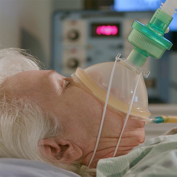 Geriatric Cardiology Patient on Ventilator; Conceptual Image