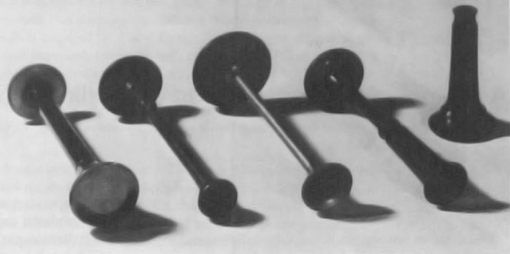 Fig. 2 Monaural stethoscopes, circa 1850. These are all essentially Laennec's model, turned into fancy shapes with dilated cusps for the ear and the chest. One specimen is screwed apart for ease in carrying. Image included by permission of John Wiley & Sons, Inc. Further usage of any Wiley content that appears on this website is strictly prohibited without permission from Wiley & Sons, Inc.