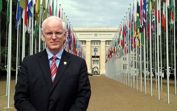John Gordon Harold, MD, MACC, past president of the ACC and chair of the ACC History Work Group, in front of the Palais des Nations (The Palace of Nations) in Geneva, Switzerland