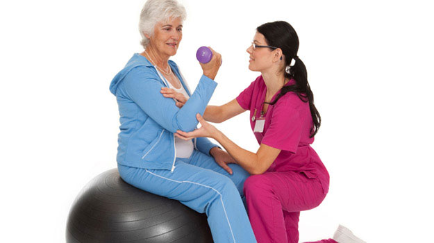 senior woman exercise rehab